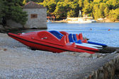 Red pedalo in Croatia Vis Island — Stock Photo