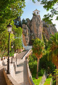 Bell tower, castle, Guadalest village, Alicante, Costa Blanca, Spain — Stock Photo