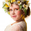 Portrait of a beautiful girl wearing flowers hat.  — Stock Photo