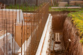 Formwork for the concrete foundation, building site — Stock Photo