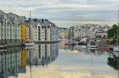 View on streets and houses at city of Alesund , Norway — Stock Photo