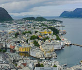 View from the mountain Aksla at the city of Alesund , Norway — Stock Photo