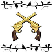 Gold Crossed Guns — Stock Vector