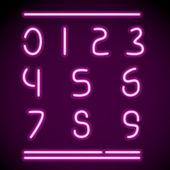 Realistiska neon alfabetet, siffror — Stockvektor