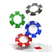Falling Poker Chips — Stock Vector