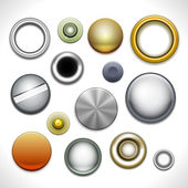 Metal buttons and rivets — Stock Vector