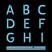 Neon Light Alphabet 1 — Stock Vector