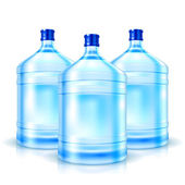 Three big bottles with clean water — Stock Vector