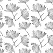 Lotus Flowers Seamless Pattern - Stock Vector