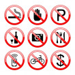 No Sign Icons — Stock Vector