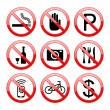 Stock Vector: No Sign Icons