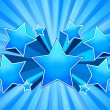 Blue Star Burst Background - Stock Vector