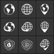 Vector globe earth world icons — Vettoriali Stock