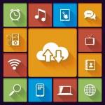 Cloud social media icons — Stock Vector