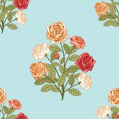 无缝背景用束鲜花 — 图库矢量图片