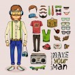 Sketch male hipster set — Stock Vector