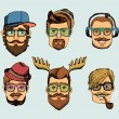 Hipster man heads avatars — Stock Vector