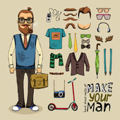 Retro style man set — Stock Vector