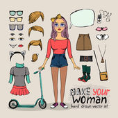Girl character with hipster elements — Stock Vector