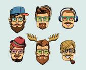 Hipster man heads avatars — Stock Vector