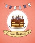 Birthday invitation with chocolate cake — Stock Vector