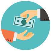 Hand giving money illustration — Stock Vector