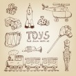 Vintage hand drawn toys — Stock Vector #42328181
