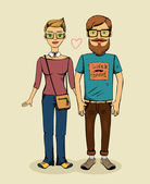 Vector hipsters couple — Stock Vector