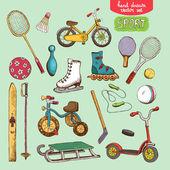 Sport toys set illustration — Stock Vector