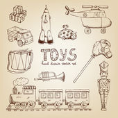 Vintage hand drawn toys — Stock Vector