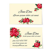 Two business card templates with red roses — Stock Vector