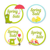 Set of four circular Spring Sale labels — Stock Vector