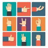 Hands Icons Set — Stock Vector