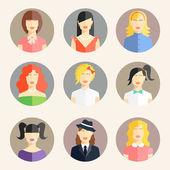 Women avatars in flat style — Stock Vector