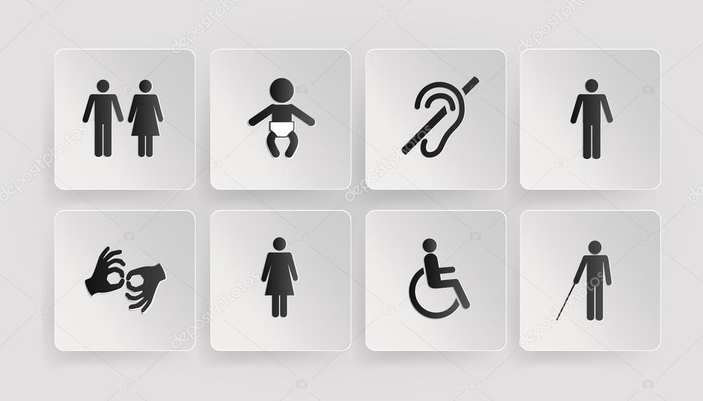 Tamano Baño Minusvalidos:Símbolos de personas con discapacidad, baños, bebé – Ilustración