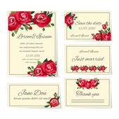 Set of wedding invitation cards with roses — Stock Vector