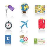 Set of colored travel icons — Stock Vector