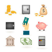 Set of colored money icons — Stock Vector