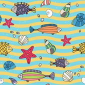 Seamless pattern of sea life on the seashore — Stock Vector