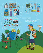Cartoon hiker with hiking infographic elements — Stock Vector