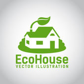 Vector green eco house icon — Stock Vector