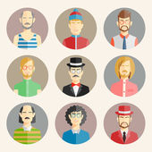 Set of nine male avatars — Stock Vector