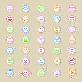 Large collection of round smiley icons — Stock Vector