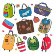 Vector set of bags, backpacks and suitcases. — Stock Vector #44645435