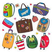 Vector set of bags, backpacks and suitcases. — Vector de stock