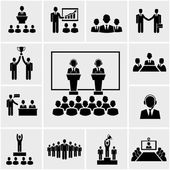 Business conference and presentation icons — Stock Vector