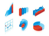 Set of 3d vector charts — Stock Vector