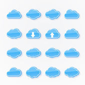Blue cloud icons of different shapes — Stock Vector
