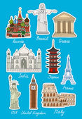 Set of vector travel landmarks icons — Stock Vector