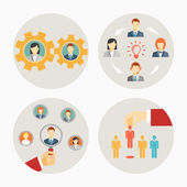 Set of vector business people and staff icons — Stock Vector